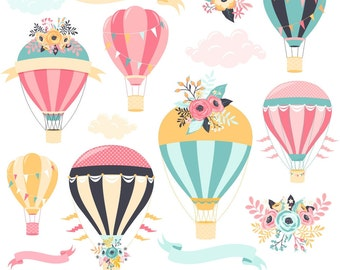 Hot Air Balloon Clipart, Digital Hot Air Balloon, Hot Air Balloon Graphics, Wedding Clipart, Printable, Commercial Use