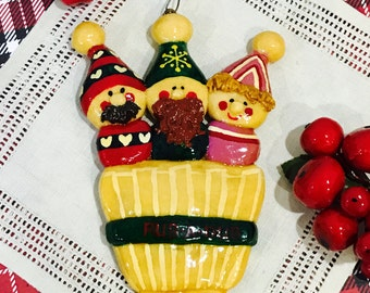 Vintage 1980s Laquered Dough Christmas Ornament Rub a Dub Nursery Rhyme