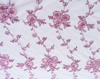 Berry Pink Lace Fabric by the yard, Mother of the Bride Dress Fabric, Scalloped Lace Fabric with Sequins, Sweet 16th Birthday dress fabric