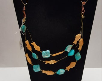 Multi-strand Fish and Mother of Pearl Beaded Necklace