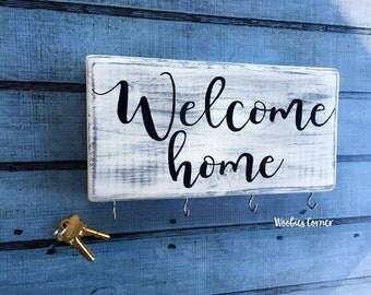 Welcome home key rack, Key holder for wall, Key hanger, Key rack, Key ring holder, Key holder for wall, Key rack, Wood sign, Key storage