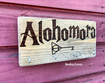 Alohomora Key Ring Holder, Harry Potter decor, House warming gift, key rack, Keyring holder, Key holder for wall, Key holder rack, Alohomora