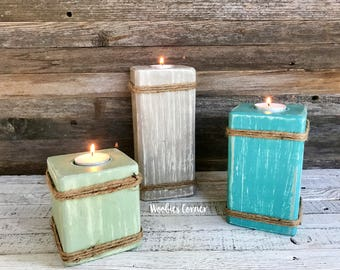 Wooden candle holder, Tea light holder, Rustic home decor, Decorative candle holder, Candle pillars, Candle decor, Wood candle holder