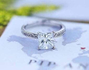 Engagement Ring 2.36 Carat Diamond Engagement Ring Round Cut 14K White Gold FREE SHIPPING