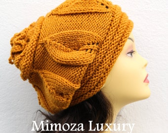 Mustard Woman Hand Knitted Hat, Mustard slouchy hat, Mustard knit hat, slouchy knit women's hat, mustard winter hat, mustard women hat