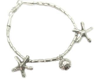 Handmade Sterling Silver Charm Beads Bracelet Bangle Or Anklet with starfish Charm Beads, Hippie Boho Bracelet Anklet