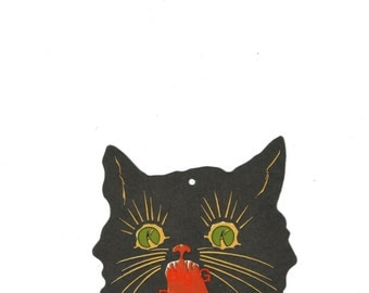 Vintage Halloween die cut scary black cat digital download printable image 300 dpi
