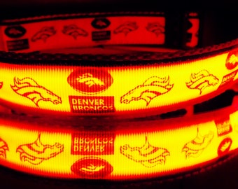 Denver Broncos dog collar lights up & glows in dark w/ LED lights; Dogs love Colorado's orange crush Superbowl football team