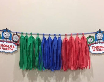 Thomas and Friends, Red/Green/Blue Handmade Table/Wall Tassel Garland/Crepe Paper