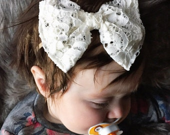 """Cream Cotton Lace """"Floppy"""" bow - toddler bow clip - infant lace bow"""