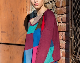 Patchwork poncho sweater
