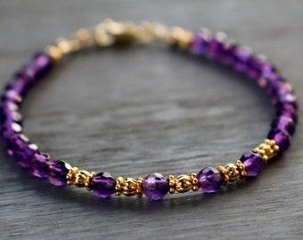 Beaded Bracelet, Amethyst Beaded Bracelet, February Birthstone Bracelet, Gemstone Friendship Bracelet, Boho Chic Bead Bracelet, Gift For Her