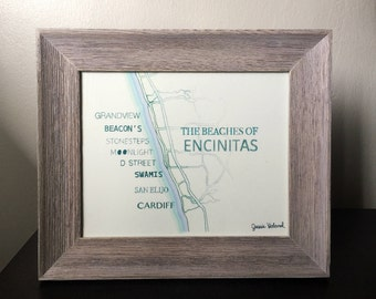 Beach of Encinitas Print - 8 x 10 - Beach Love - Cardiff - Leucadia - Moonlight Beach - San Diego - California - Beachy Decor Cottage