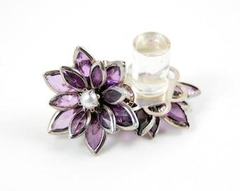 9/16 1/2 7/16 00g 0g 2g 4g 6g 8g 10g 12g 1 PAIR Violet Pearl Vintage Inspired Rhinestone Flower Plugs Gauges Tunnels Studs Wedding Bridal