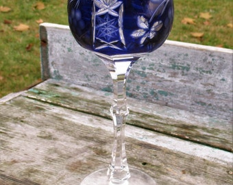 Crystal Dresden Wine Glass Goblet Hock Cut to clear Blue Leaded Germany