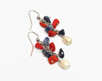 Red White Blue Chain Earrings, Patriotic Dangle Earrings, Red White Blue Dangle Earrings, Patriotic Boho Earrings, July 4th Earrings