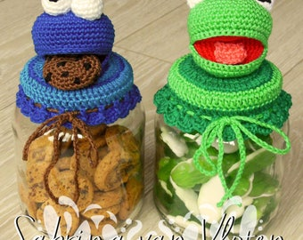 DUTCH crochet pattern Cookiemonster/Kermit candy jar
