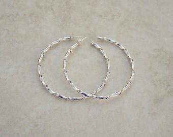 Size 5 Silver Twist Forged Hoops, Argentium Silver Hoops, Silver Hoop Earrings, Handforged Silver, Everyday Earrings