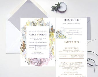 Whimsy Succulents Wedding Invitation Template, Printable Wedding Invitations, Wedding Invitation Suite, DIY Invitations