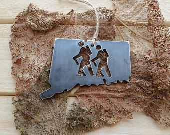 Connecticut Hiker Ornament Rustic Raw Steel CT Metal State Christmas Holiday Gift Hike Hiking Outdoors Mountains Wander