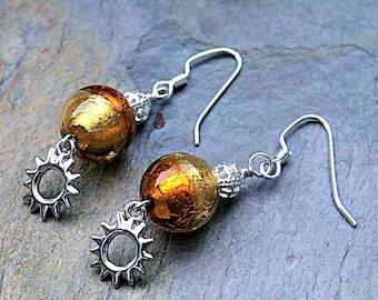 """Golden Sunset Murano Italian Glass Earrings - 2"""""""