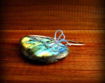Butterfly bangle bracelet, Sterling silver butterfly bracelet