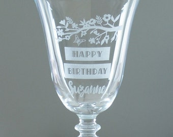 Happy Birthday Personalised Wine Glass