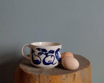 vintage ceramic soup mug in blue