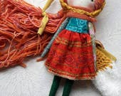 "golden fox girl - 14""ish handmade cloth doll with light orange/rainbow hair and gold fox hood and tail"