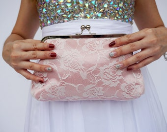Pink and Ivory Lace Clutch - Bridal Clutch /  Bridesmaids / Gift for her / Express shipping /  Dinner clutch / Women / Bag / Purse / Pouch