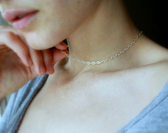 Silver chain choker sterling silver choker minimalist jewelry simple chain necklace dainty necklace short silver necklace choker necklace