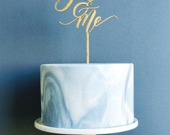 You & Me Laser Cut Gold Wedding Cake Topper - hand drawn and made of wood