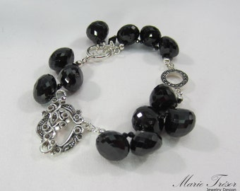 Black facetted Sipnel bracelet with Marcasite toggle and ring