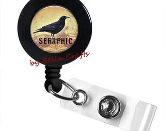 Seraphic, Raven, Badge Reel, Halloween, Gothic, Crow,ID Holder,State Worker,Teacher, Nurse, Doctor, Geeky, Accessory, Retractable, Belt Clip