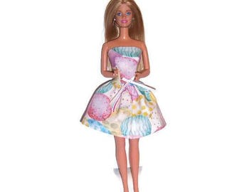Fashion Doll Clothes-Easter Egg Print Strapless Party Dress
