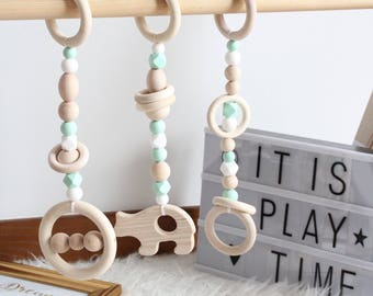 Mint wooden play gym toys / Set of 3 toys / Safe for teething / Made from natural wooden beads and food grade silicone beads