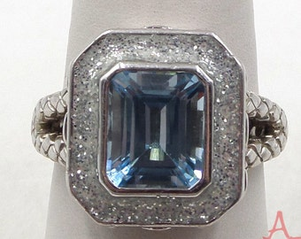 Bold Blue Topaz and Sterling Silver Ring Size 8