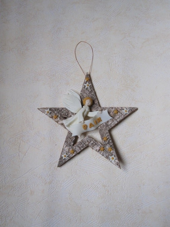 CHRISTMAS star Angel PEACE bark nursery. Porcelain cold saeljana. Salam. Shalom.