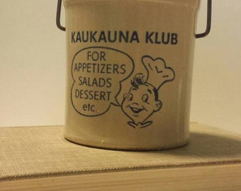 Kaukauna Klub crock 1950s / Sourdough Crock / Cheese Crock
