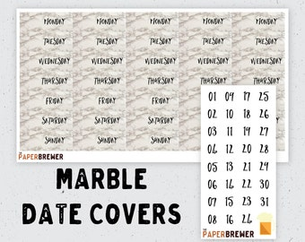 Marble Planner Date Covers