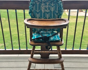 Highchair Cover/Pad/Cushion. High Chair cover/Pad/Cushion Turquoise Arrow Cushion for vintage highchairs.  Turquoise Arrows