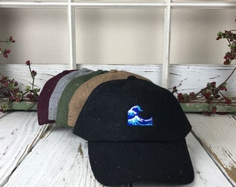 WAVE  Confetti Wool Blend Wooly Baseball Cap Dad Hats Baseball Hat Embroidered
