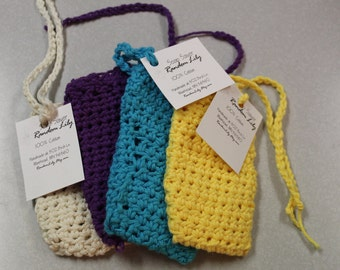 Soap Saver - Soap Pouch - Soap Sack - Soap Mitt - Soap Sweater - Bath Scrubbie - Soap Holder - Cotton Washcloth - Soap Bag - Soap Set - Gift