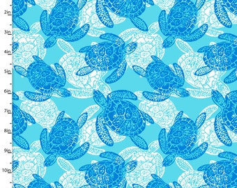 Sea Turtle Fabric, 3 Wishes Southport by the Sea 11771 Blue, White, Aqua, & Blue Sea Turtle Quilt Fabric, Nautical, Ocean, Cotton Yardage