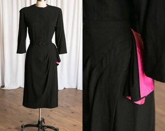 Stranger Danger dress | vintage 40s dress | 1940s black wool dress | black / pink vintage 1940s dress | swagged skirt | 40s wool dress