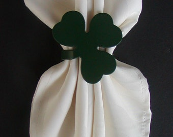 Set of 4 St Patrick's Day Green Shamrock Metal Napkin Rings