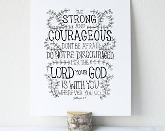 Joshua 1:9 Printable Bible Verse Art Print 8x10 Digital Wall Art Gift
