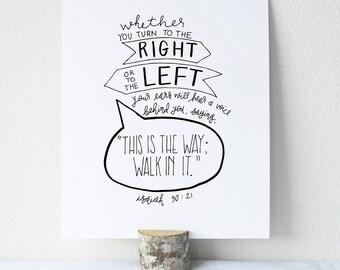 Isaiah 30:21  Printable Bible Verse Art Print 8x10 Digital Wall Art Gift