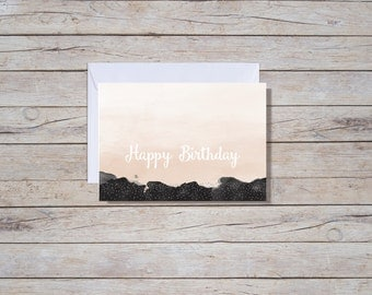Pink Ombre Happy Birthday Card