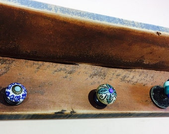 rustic recycled wood shelf /floating nightstand/ wall hanging vanity /wooden farmhouse shelving bedroom art decor 5 blue hand-painted  knobs
